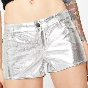 Dolls Kill Tripp Metallic Silver Leather Shorts